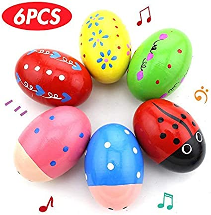 5Pcs Music Shaker Percussion Rhythm Instrument Wooden Egg Maracas Toy Yellow