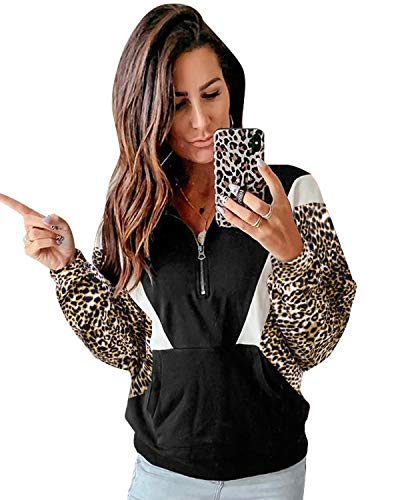 BIUBIU Womens Crewneck Sweatshirt Long Sleeve Button Decor Leopard Printed Casual Pullover Tops