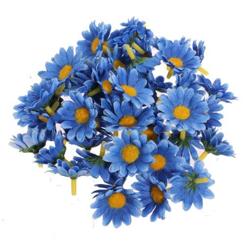 50 Pieces Sunflower Artificial Silk Flower Heads Craft Wedding Party Home Decor (Blue)