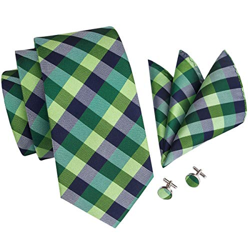 - Hi-Tie Mens Green Check Plaid Tie Set Necktie with Cufflinks and Pocket Square Woven Silk Tie