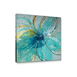 Niwo Art (TM - Blue Flower A, Floral Painting Artwork - Giclee Wall Art for Home Decor,Office or Lobby, Gallery Wrapped, Stretched, Framed Ready to Hang (16x16x1.5)