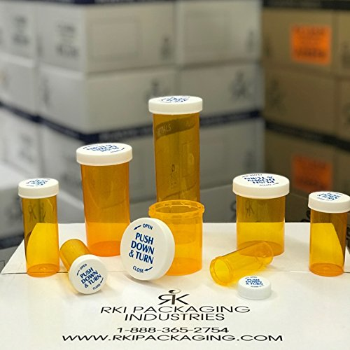 Amber Push & Turn Child Resistant Vials | Bottles | Containers w/Caps 30 Dram (190 Units/Box)