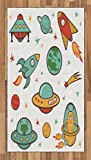 Lunarable Kids Area Rug, Outer Space Rocket Space Ship UFO Planets Alien Earth Saturn Galaxy, Flat Woven Accent Rug for Living Room Bedroom Dining Room, 2.6 x 5 FT, Jade Green Mustard Apricot