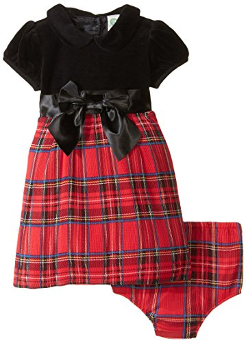 Little Me Baby Girls' Plaid Dress and Panty, Red Plaid, 24 Months