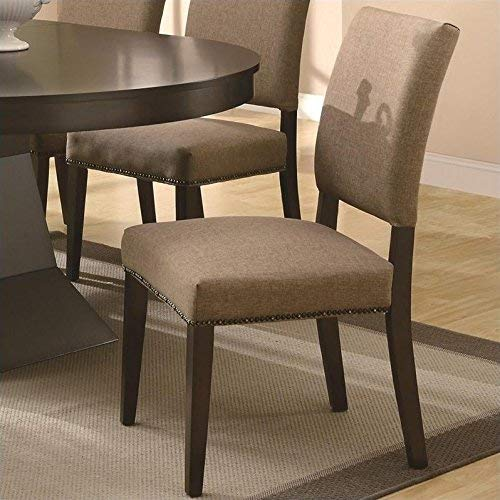 Myrtle Dining Side Chairs with Nailhead Trimming Tan and Cappucino Set of 2