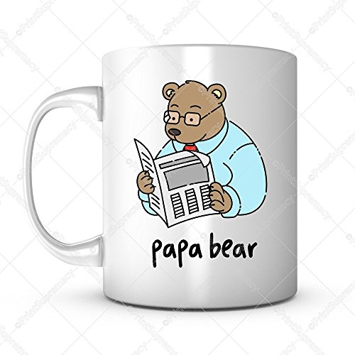 (Papa Bear-Father's Day Gift Mug Ideas Funny Cartoon Coffee Mug Quotes Sayings for Dad/Father in Law Birthday Gift from Son/Daughter Lead Free Ceramic 11OZ Personalized Tea Mug Dad Mug Gift Mug (1))