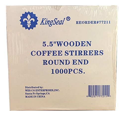 KingSeal Natural Birch Wood Coffee Beverage Stirrers - 5.5 Inches, Round End, 10 Packs of 1000 each per Case by KingSeal (Image #2)