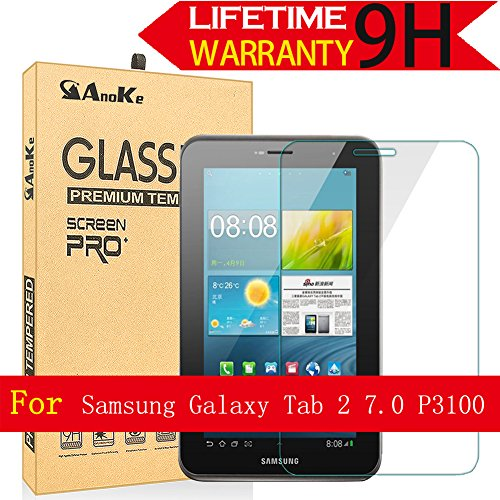 Galaxy Tab 2 7.0 Glass Screen Protector, AnoKe(0.3mm 9H) Tempered Glass Screen Protector Film Sheild For Tab 2 7.0 P3100 Glass