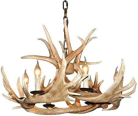 EFFORTINC Antlers vintage Style resin 6 light chandeliers