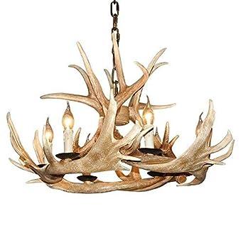EFFORTINC Antlers vintage Style resin 6 light chandeliers