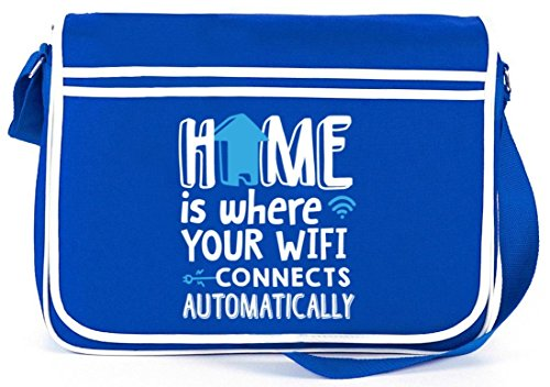 Shirtstreet24, Home Wifi, Retro Messenger Bag Kuriertasche Umhängetasche Royal Blau