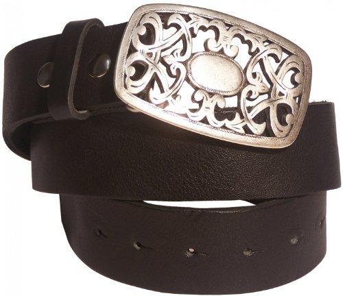 FRONHOFER genuine leather belt floral buckle Italian Style belt 17132, Size:waist size 31.5 inch M EU 80 cm;Color:Black