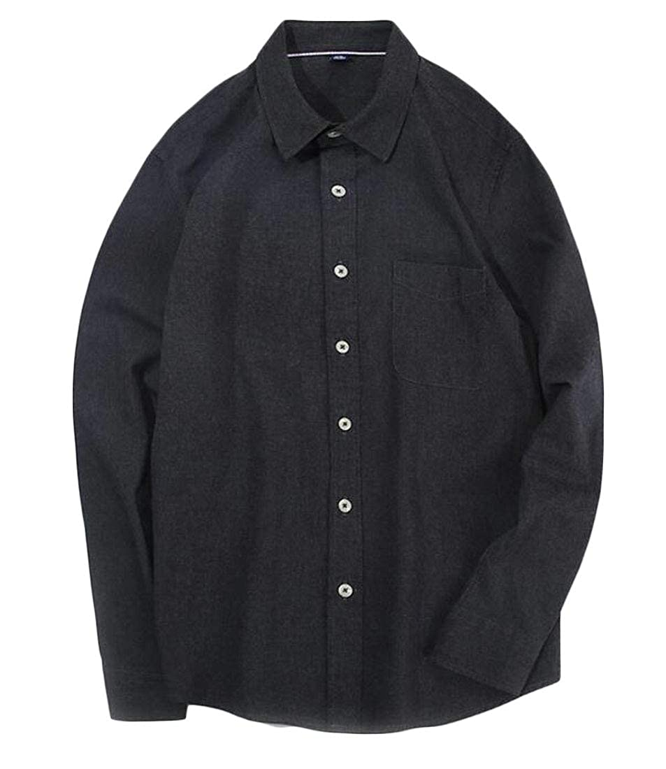 Lutratocro Mens Retro Long Sleeve Casual Flannel Slim Button Down Shirts