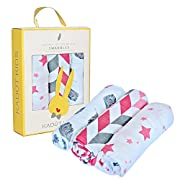 Muslin Swaddle Blanket, 3 Pack Muslin Cotton Baby Blanket, Swaddle Blankets For Boy or Girl Large 47  By 47 , Infant Newborn Blankets, Baby Shower Gift Box By Kadut Kids