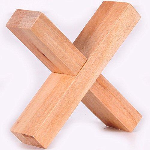 Wood Cross Puzzle - KINGOU Wooden Cross Lock Logic Puzzle Burr Puzzles Brain Teaser Intellectual Toy