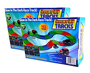 Light Up Twisting Glow In The Dark Race Tracks - Magical Twister Race Track Toy Cars - Endless Glowing Track Possibilities - Neon Glow Twisting Tracks