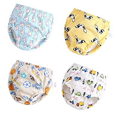 U0U 4 Pack Toddler Potty Training Pants 6 Layered Cotton Training Underwear for Toddlers Girls Boys