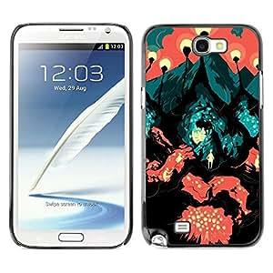 LECELL--Funda protectora / Cubierta / Piel For Samsung Galaxy Note 2 N7100 -- Travel Road Symbolic Art Painting City Lava --