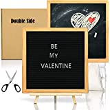 Double Sided Felt Letter Board with Chalkboard -10x10 Black Changeable Message Sign with Oak Frame Stand, 378 Letter Number Emojis, Valentine Day Photo Prop Board Sign, Baby Shower Announcement
