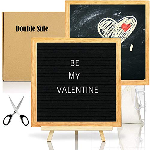 Double Sided Felt Letter Board with Chalkboard -10x10 Black Changeable Message Sign with Oak Frame Stand, 378 Letter Number Emojis, Valentine Day Photo Prop Board Sign, Baby Shower -