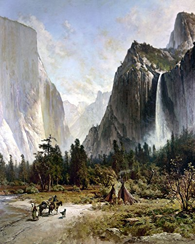 Canvas American - Yosemite Valley C1860 Na Native American Hunter Returning To His Tepee At Yosemite Valley Oil On Canvas By Thomas Hill C1860 Poster Print by (18 x 24)