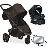 Britax B-Free / B-Safe 35 Infant Baby Stroller Travel System - Midnight with Back Seat Mirror