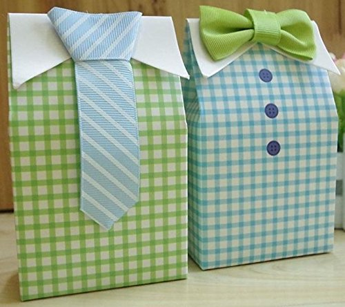 50 pcs My Little Man Blue Green Bow Tie Birthday Boy Baby Shower Favor Candy Treat Bag Wedding Favors Candy Box Gift Bag -