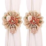 YING CHIC YYC 1Pair Lace Flower Curtain Tieback Buckle Ribbon Drape Holder Nursery Bedroom Decor (Beige)