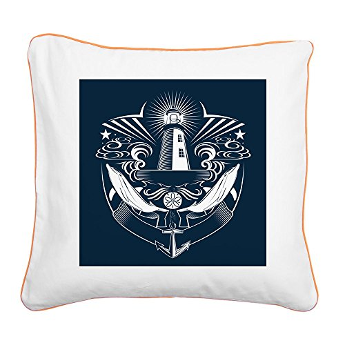 Square Canvas Throw Pillow Orange Lighthouse Crest Anchor Dolphins
