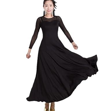 b395bc8fb0e23 YC WELL Women Modern Waltz Tango Smooth Ballroom Dance Dress Standard  Ballroom Dress(Black,