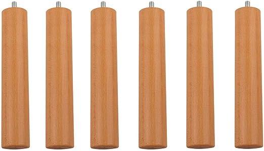 Pack 6 Patas cilíndricas de Madera Maciza para SOMIER o Base TAPIZADA con Rosca. Altura 25cm. Color Cerezo. con Sistema antiruido.