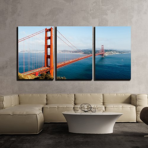 - wall26 - 3 Piece Canvas Wall Art - Golden Gate Bridge, San Francisco, California, USA. - Modern Home Decor Stretched and Framed Ready to Hang - 24
