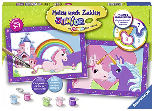 Ravensburger 27774-Colourful Unicorn World 'Painting by Numbers Junior