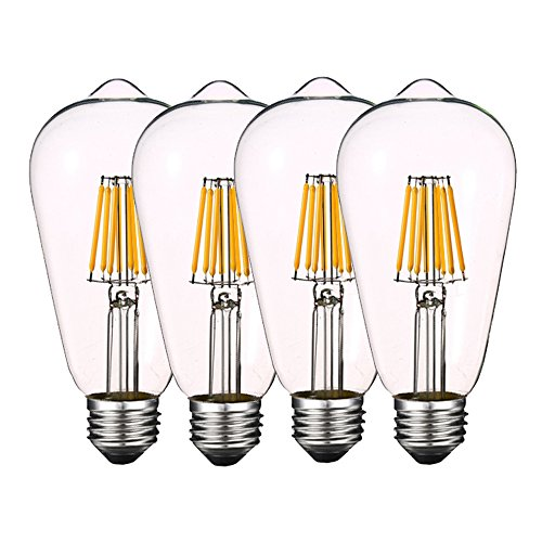 Dimmable 8W Edison LED Bulb 4000K Daylight White 800LM, 80W Equivalent E26 Medium Base, ST64(ST21) Vintage Filament LED Bulbs, Clear Glass Cover, Pack of 4(2 Year (White Led Eco Led)