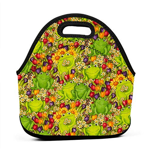 ONUPMIN Ideal Gifts - Insulated Lunch Bag Frogs Green Colorful Bento Lunch Bag Thermal Cooler Lunch Pouch with Portable Carrying Bag for Men &Women &Kids