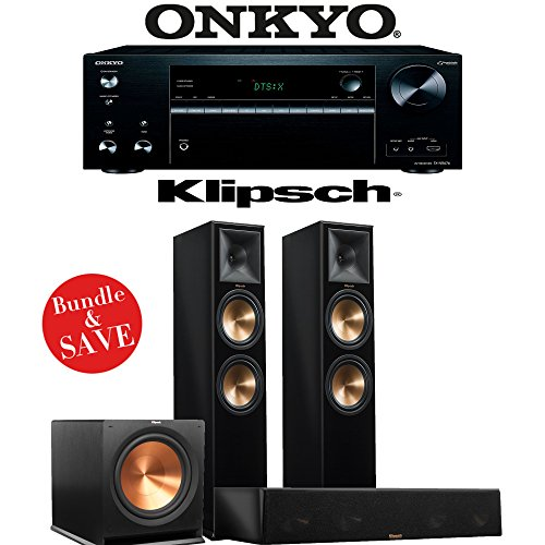 Klipsch RP-280F 3.1-Ch Reference Premiere Home Theater System (Piano Black) with Onkyo TX-NR676 7.2-Ch 4K Network AV Receiver by Klipsch