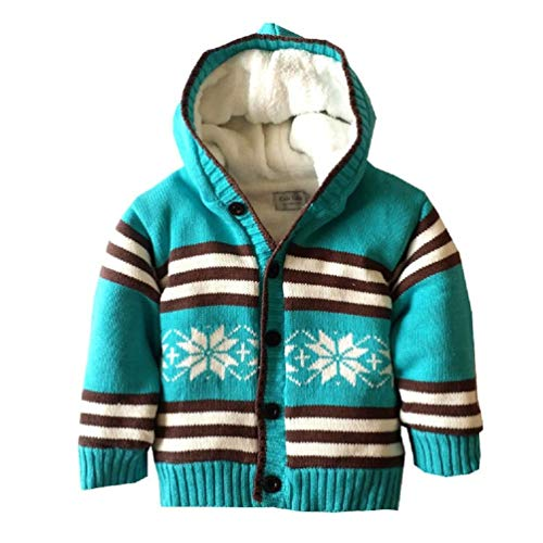 Snowflake Baby Cardigan (Toddlers & Little Boys Long Sleeve Thermal Hoodie Sweater Knit Xmas Snowflake Outwear Cardigan Jacket (Blue 2A))