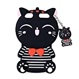 ipods for kids - iPod touch 6th Generation Case, iPod Touch 5 Case , Mulafnxal Cute 3D Cartoon Cat Silicone Rubber Phone Case Cover for Apple iPod Touch 6th / 5th Generation (Stripe Black Cat)