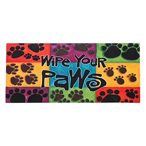 Sassafras Decorative Mat Set, Mat size: 10x22 Inches, Scroll Mat Fram Size: 18x30 Inches, Wipe Your Paws