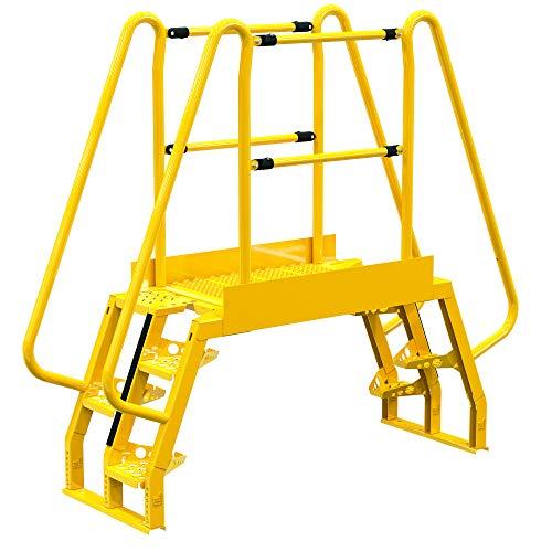 """Vestil COLA-2-68-44 Yellow Alternating Cross-Over Ladder, 4 Step, 80"""" x 73"""", 350 lb. Capacity"""