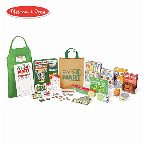 Melissa & Doug Fresh Mart Grocery Store Companion Collection (Play Sets & Kitchens, Multiple Role Play Items, Helps Develop Social Skills)]()