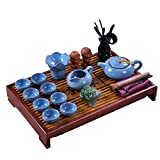 ufengke Chinese Ceramic Kung Fu Tea Sets, Tea Service, Gift Tea Sets With Tea Tray And Tea Pet, Light Blue