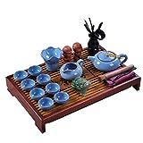 ufengke Light Blue Ice Crack Kung Fu Tea Set Tea Service With Tea Tray