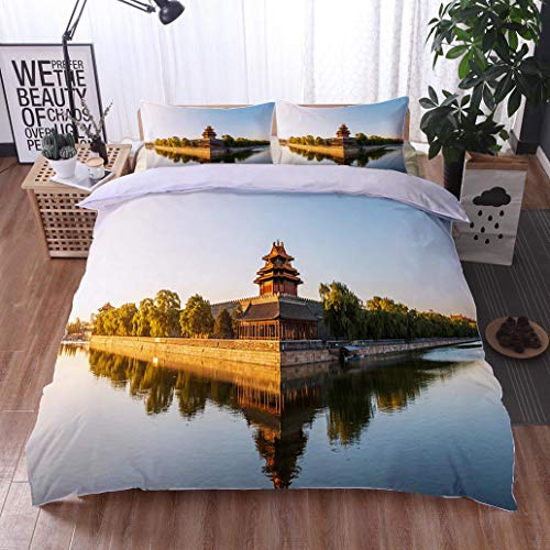 HOOMORE Bed Comforter - 3-Piece Duvet -All Season, Moat and Watchtower of Imperial Palace in Beijing China,HypoallergenicDuvet-MachineWashable -Twin-Full-Queen-King-Home-Hotel -School