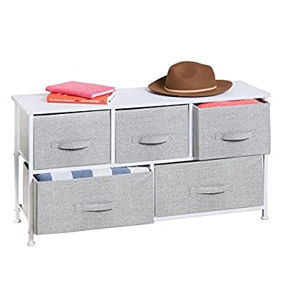 mDesign Extra Wide Dresser Storage Tower with 5 Drawers
