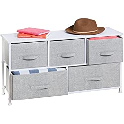 mDesign Fabric 5-Drawer Storage Organizer Unit for Closet, Bedroom, Office - Gray