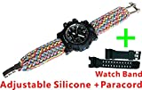 Rainbow Adjustable Waterproof Resistant 7 Strand 550 Paracord Loop Strap Nylon Customization Bracelet Strap Band (Stainless Steel)