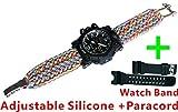 Rainbow Adjustable Waterproof Resistant 7 Strand 550 Paracord Loop Strap Nylon Customization Bracelet Strap Band (Stainless Steel)