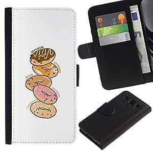 Planetar® Modelo colorido cuero carpeta tirón caso cubierta piel Holster Funda protección Samsung Galaxy S3 III i9300 i747 ( Doughnut White Pink Cartoon Drawing )