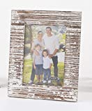 Mud Pie 4695408L Distressed White-Washed Wood Picture Frame, 5'' x 7''